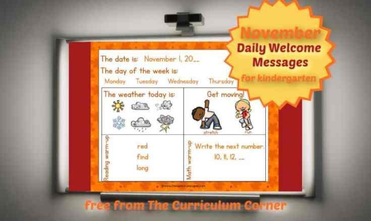 Editable Kinder Welcome Messages for November