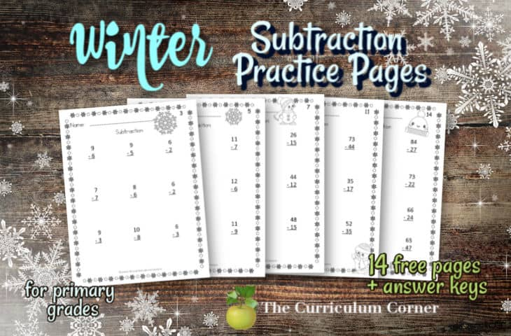 winter subtraction practice pages