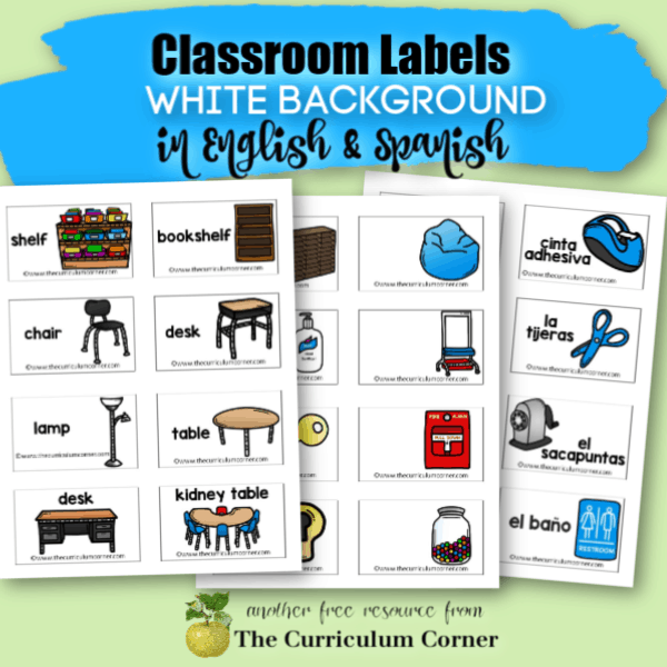 editable classroom labels in English and Spanish