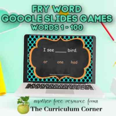 Fry Google Slides Games (1st 100 Words)