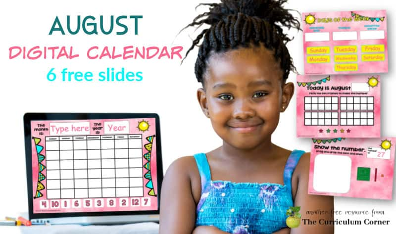 August Digital Calendar