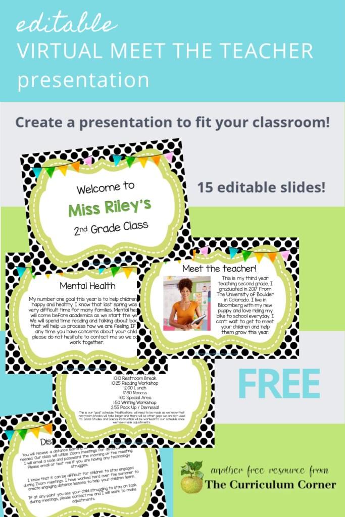 editable virtual meet the teacher presentation for back to school