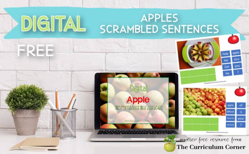 Try our free apple scrambled sentences as a new fall literacy center for computer or tablet use.