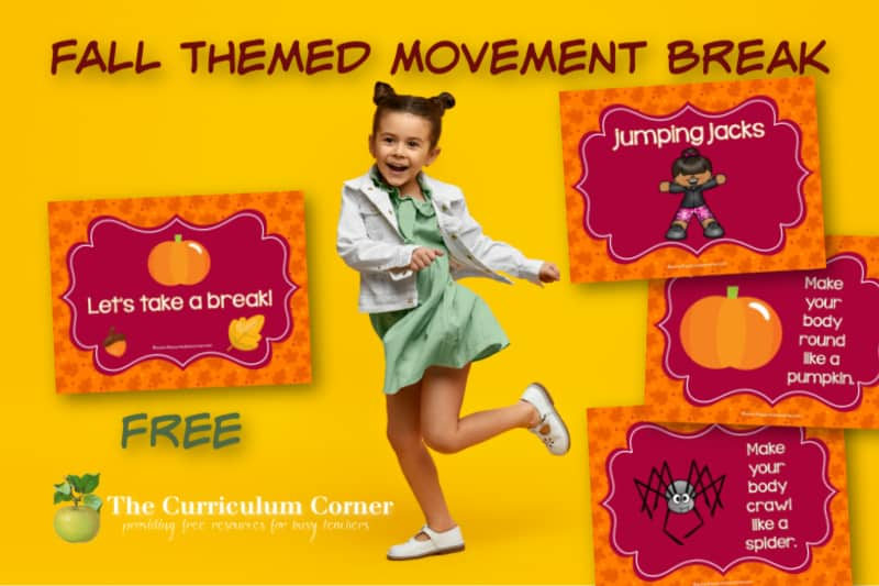 Download this free fall themed movement break for virtual learning to give your kids a break from lots of sitting. Free from The Curriculum Corner.