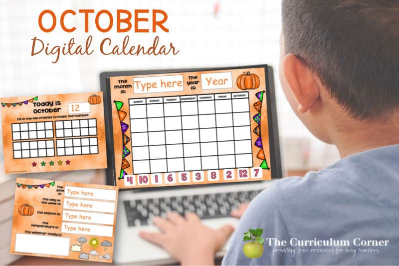 This October digital calendar is designed to help you with calendar time during your virtual instruction. Free from The Curriculum Corner.