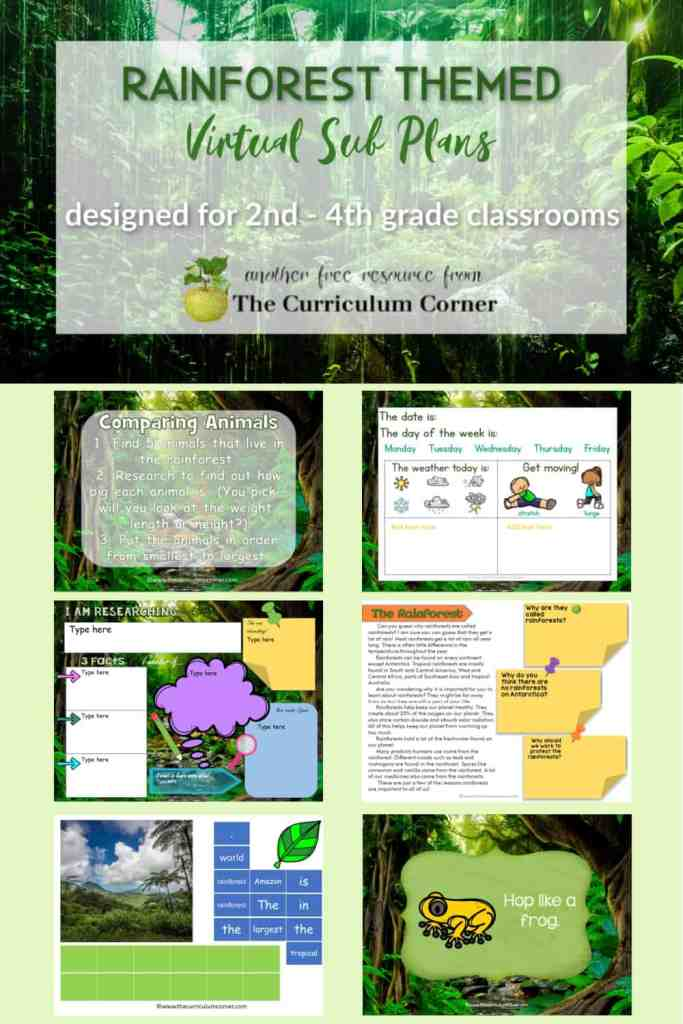 These Rainforest Virtual Sub Plans will help you create your own sub plans for your distance learning.
