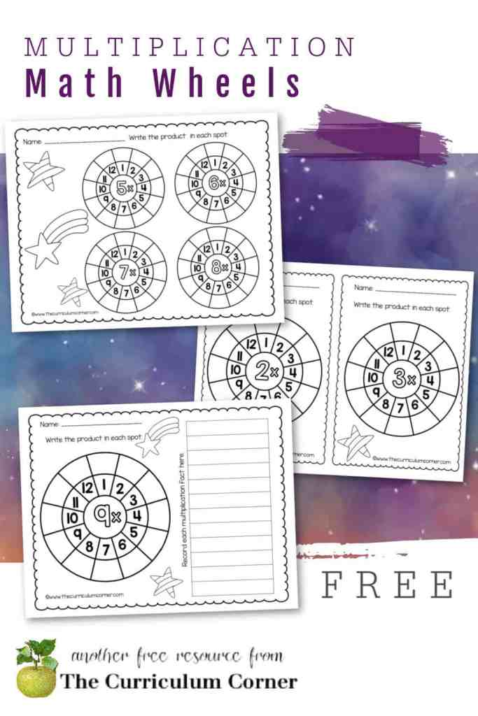 Try our multiplication math fact wheels to give your students a new way to practice math facts. Free worksheets from The Curriculum Corner.