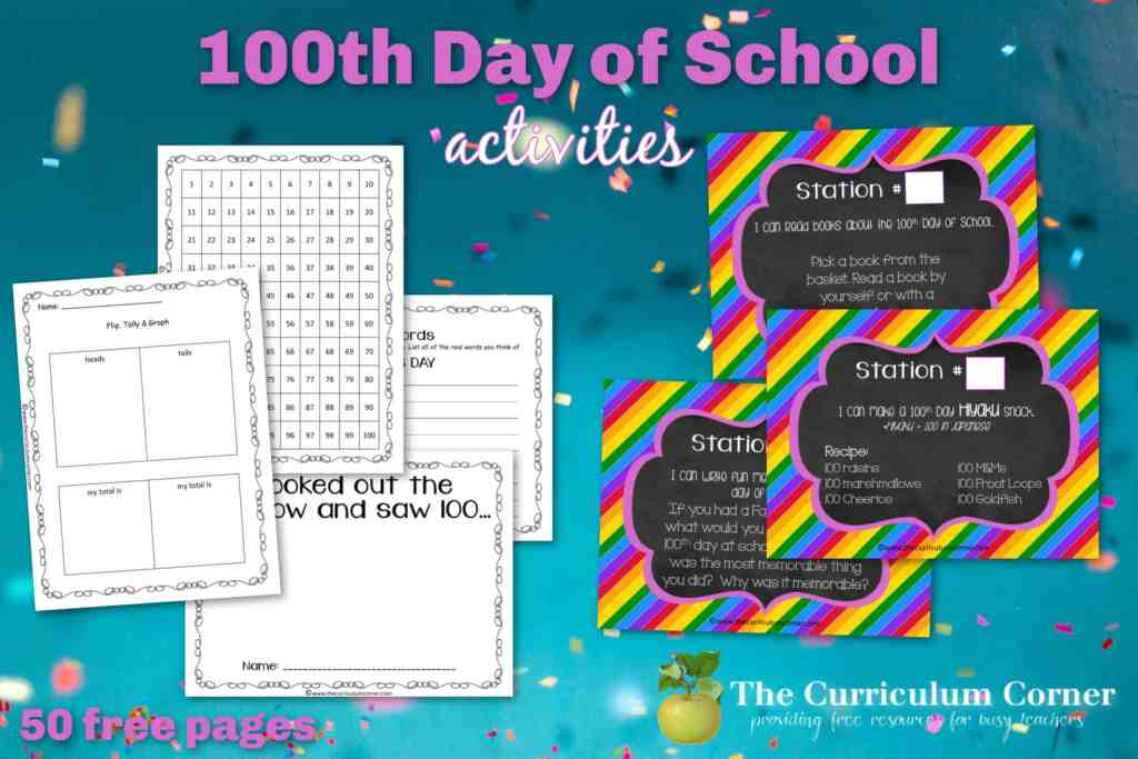 Free 100th day of school activities to help you plan your 100s day celebration in the classroom.