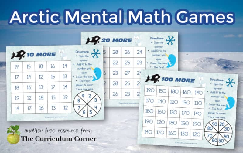 Download these free Arctic mental math games to help you create engaging winter themed math centers.