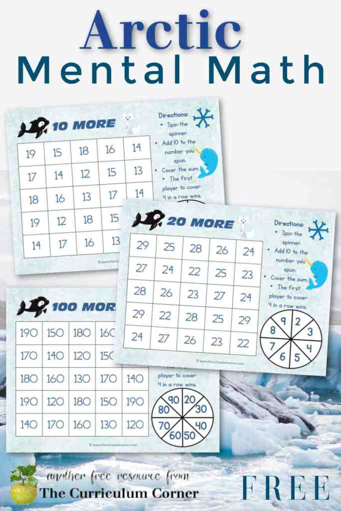 Download these free Arctic mental math games to help you create engaging winter themed math centers. Free from The Curriculum Corner.