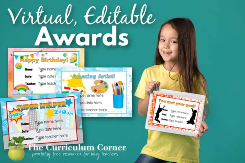 Download these free and editable, virtual award certificates to recognize your students during virtual learning.