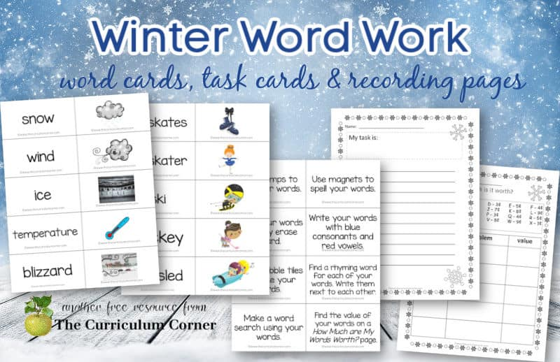 Download this free set of winter word work to help you create literacy centers in your classroom. Free from The Curriculum Corner.