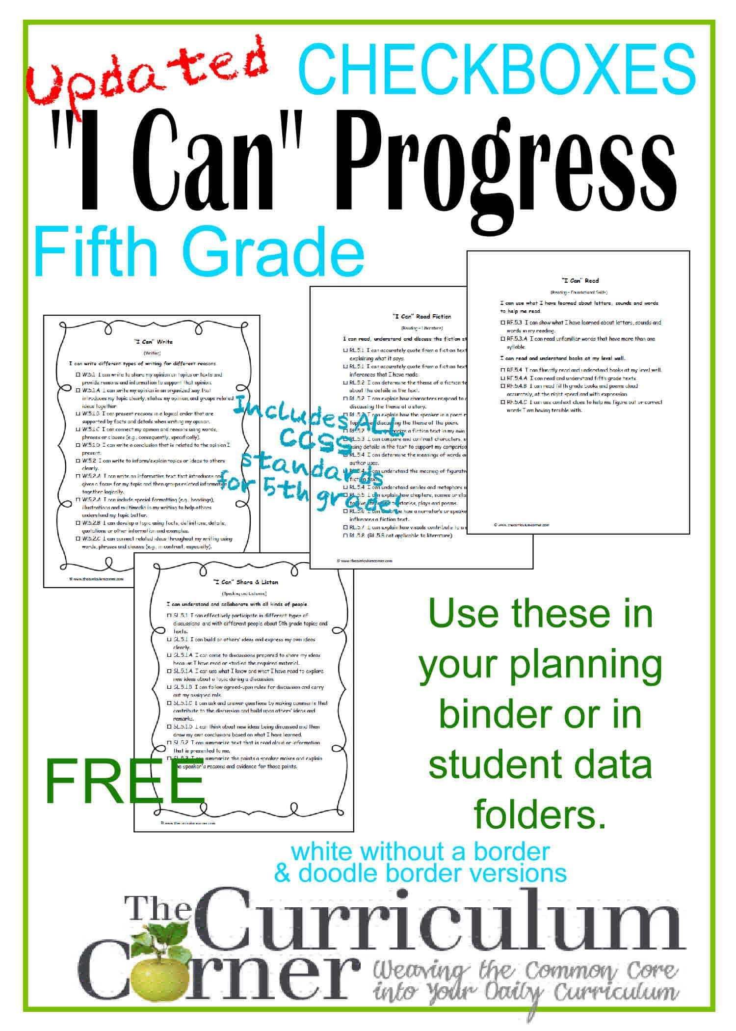 I Can Statements 5th Grade Ccss Progress Checkboxes