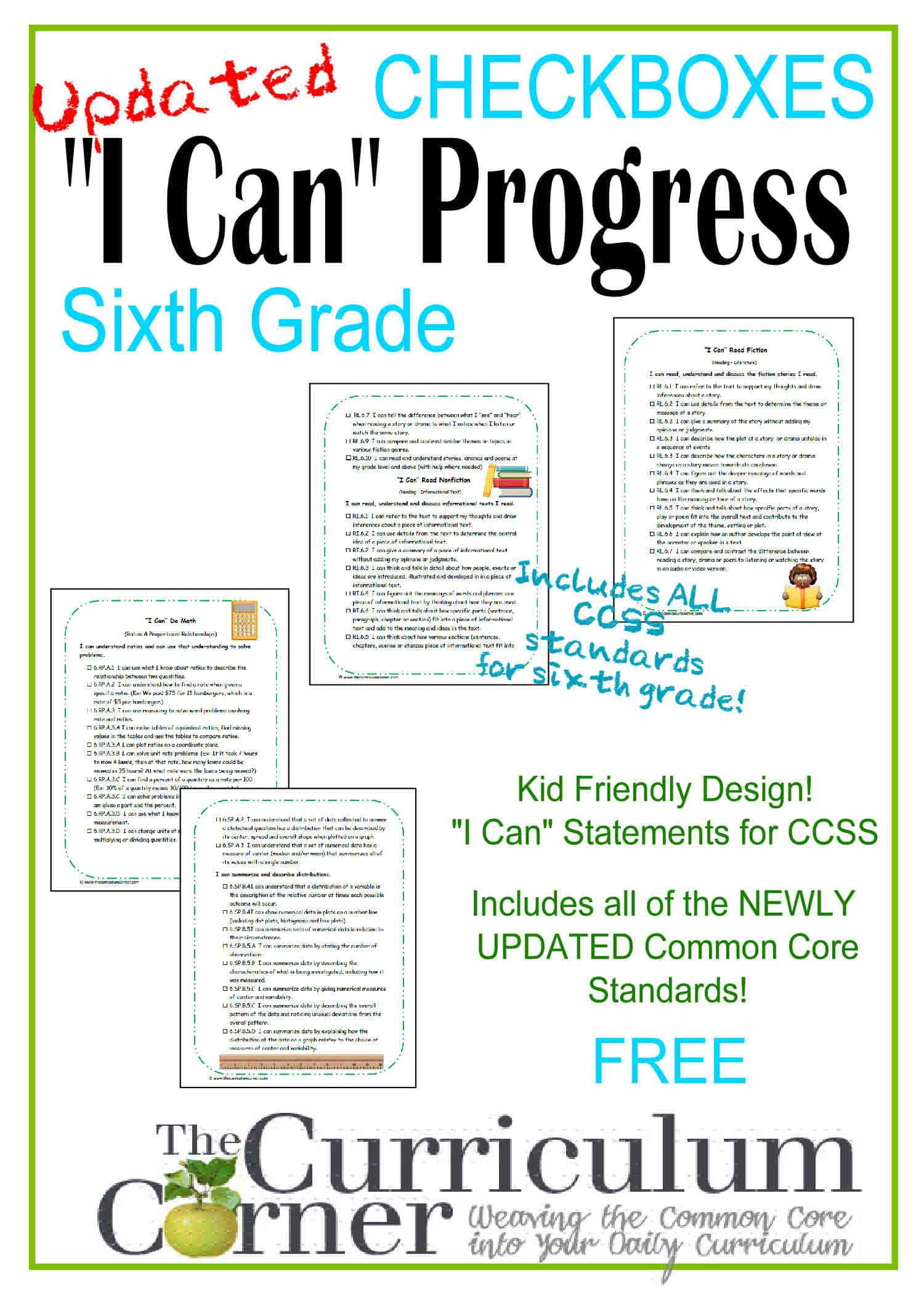 Kid Clip Art I Can Statements 6th Grade Ccss Checkboxes