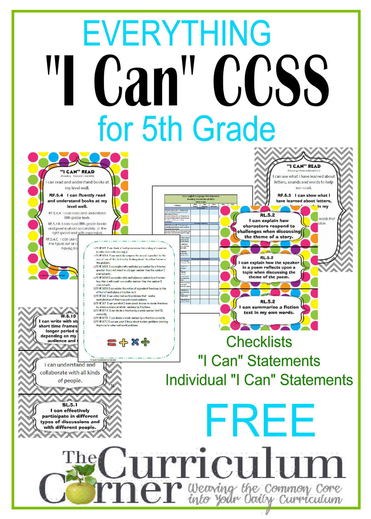 Everything I Can Common Core For 5th Grade