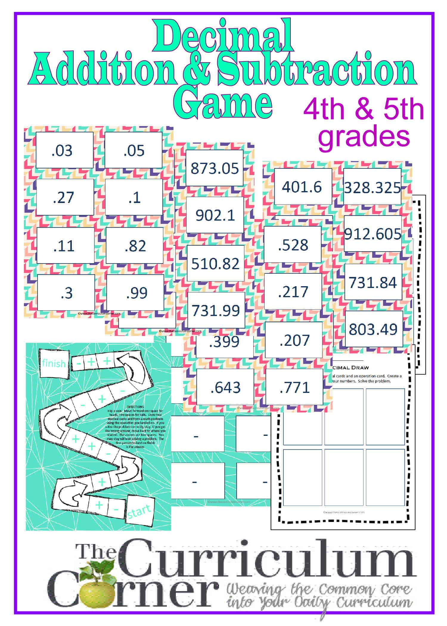 Adding And Subtracting Decimals Game For 4th Amp 5th Grades
