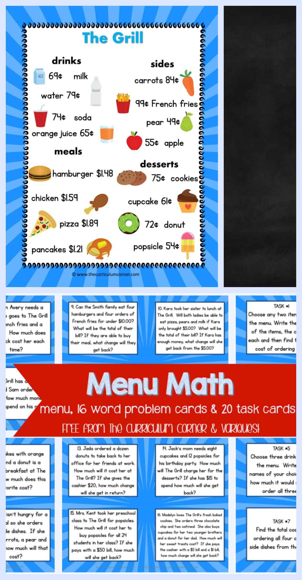 Freebie Menu Math Word Problem Cards Task Cards For 4th