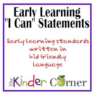 Early Learning I Can Statements from The Curriculum Corner