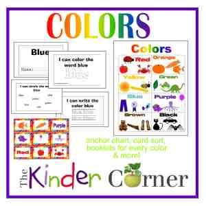 Colors by The Curriculum Corner (anchor chart, booklets, card sort & more)  FREE