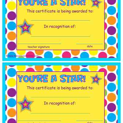 You're a Star End of the Year Certificates