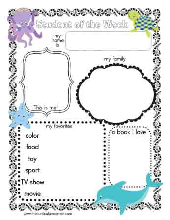 Ocean Themed Student of the Week Poster FREE from www.thecurriculumcorner.com