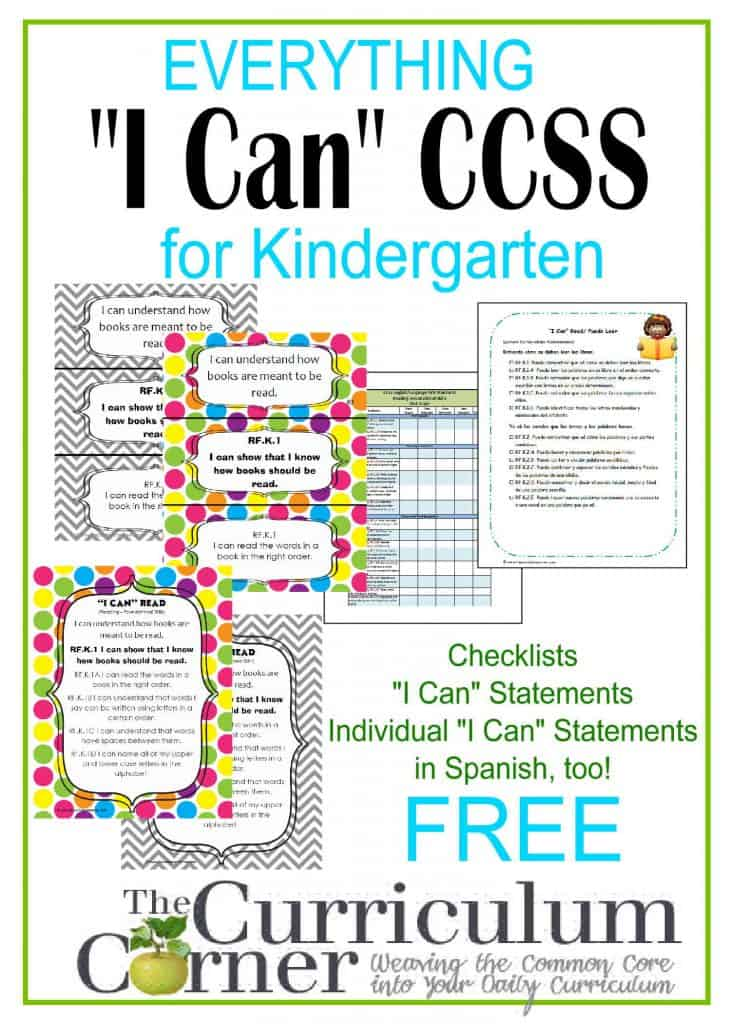 picture about Kindergarten Common Core Standards Printable called Up-to-date Kindergarten Checklists - CCSS AND I Cans - The