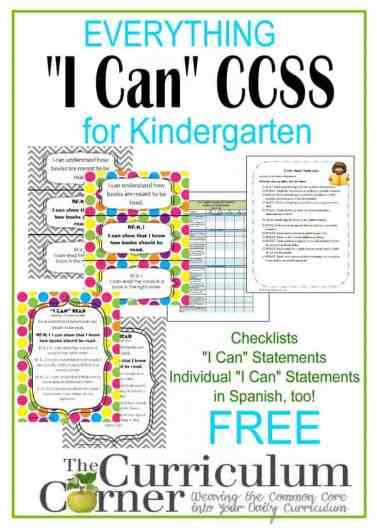 I Can Statement Standards For Kindergarten The Kinder Corner