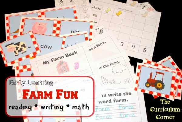 Early Learning Farm Fun for reading, math & writing FREE from The Curriculum Corner