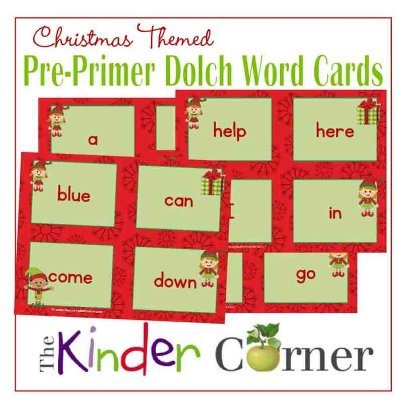 Dolch Pre-Primer Word Cards in a Christmas Elf Theme Free from The Curriculum Corner