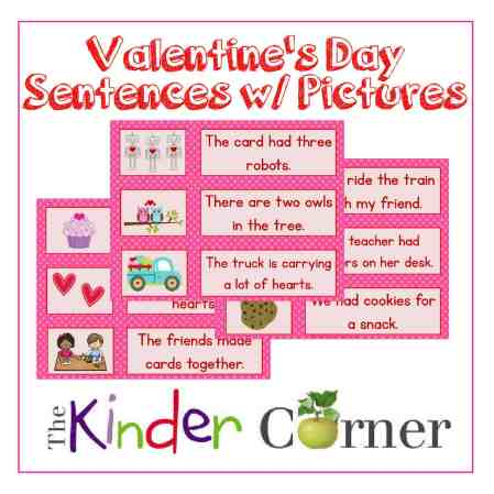 Valentine's Day Sentence Cards w/ Pictures free from The Curriculum Corner