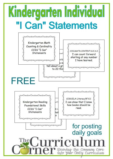 "Kindergarten ""I Can"" Statements Individual Display Posters Free from The Curriculum Corner"