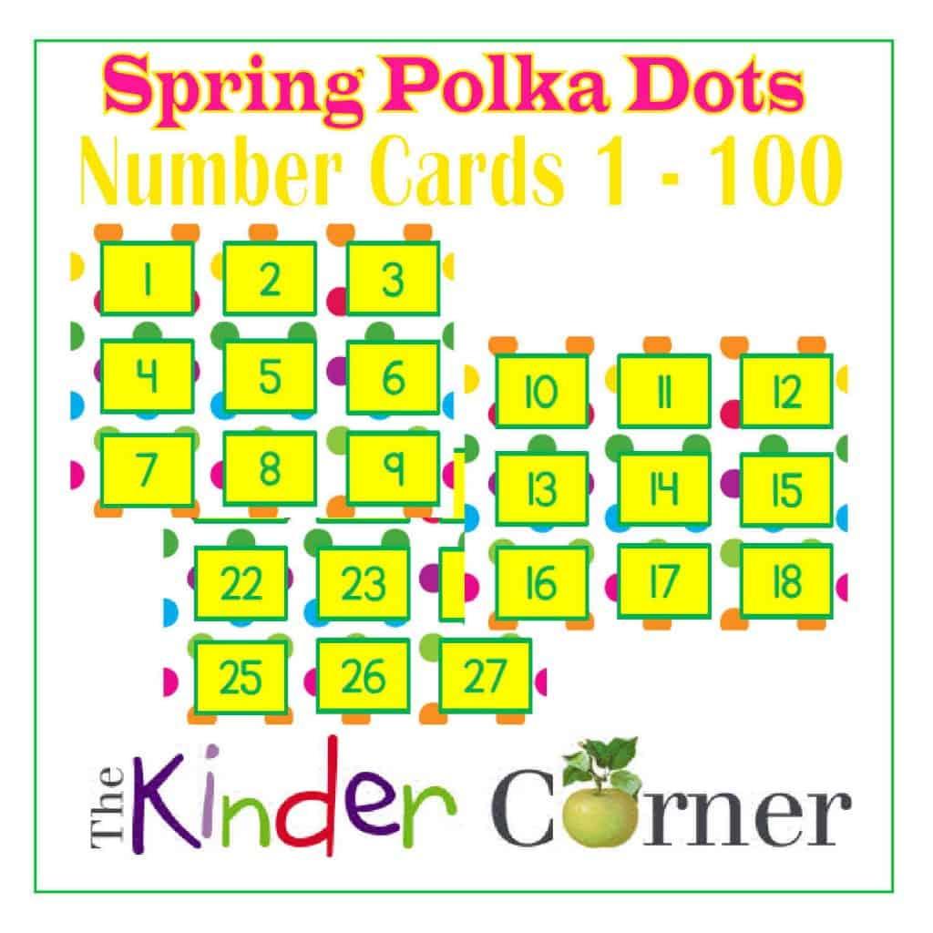 Rainbow Polka Dots Number Cards 1