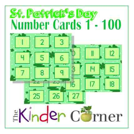 St. Patrick's Day Number Cards 1 though 100 FREE from The Curriculum Corner