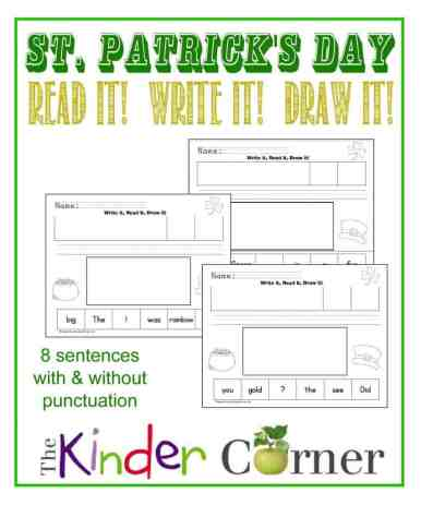 St. Patrick's Day Read it, write it, draw it simple scrambled sentences by The Curriculum Corner
