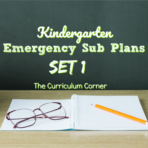FREE Kindergarten Emergency Sub Plans from The Curriculum Corner