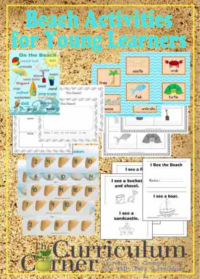 Beach Activities for Young Learners free from The Curriculum Corner | Write the Room | Counting Mats | Word Wall | Writing Prompts | & more!