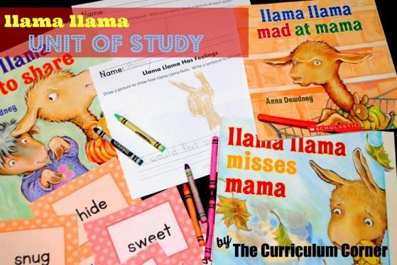 Llama Llama Unit of Study free from The Curriculum Corner