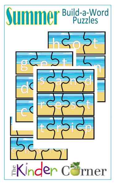 Summer Build a Word Puzzles from The Curriculum Corner