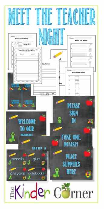 Meet the Teacher Night activities, signs, treat toppers & more FREE from The Curriculum Corner