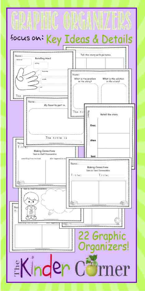 Graphic Organizers for Key Ideas & Details FREE from The Kinder Corner | Literature Graphic Organizers | Meets kindergarten literature standards! Great find!