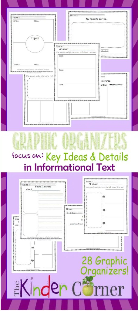 Informational Text Focus: Graphic Organizers for Key Ideas & Details FREE from The Kinder Corner | Meets kindergarten literature standards! Great find!