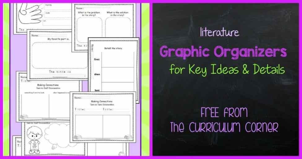 FREE Literature Graphic Organizers from The Curriculum Corner for reading workshop meets kindergarten standards