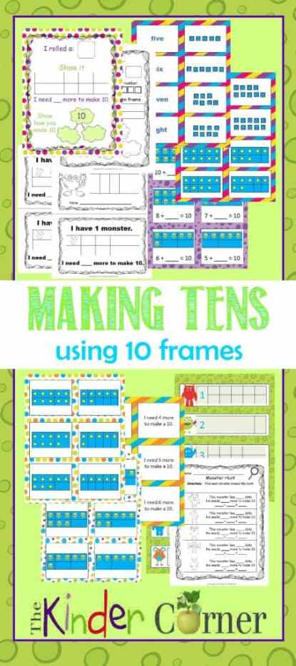 Making 10s Using 10 Frames with a Monster Theme   FREE from The Curriculum Corner   TONS of resources in one spot!