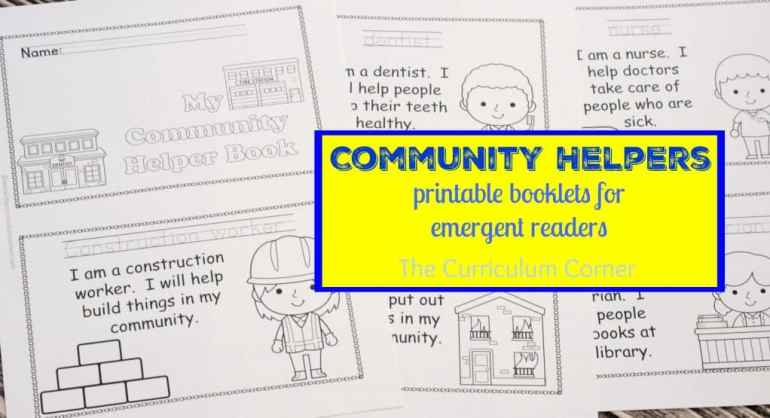 Community Helpers Collection FREE from The Curriculum Corner - emergent reader booklets