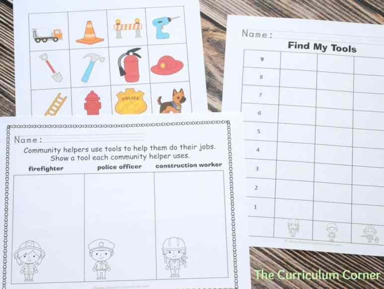 "FREEBIE! Community helper ""Find Their Tools"" activity Free from The Curriculum Corner"