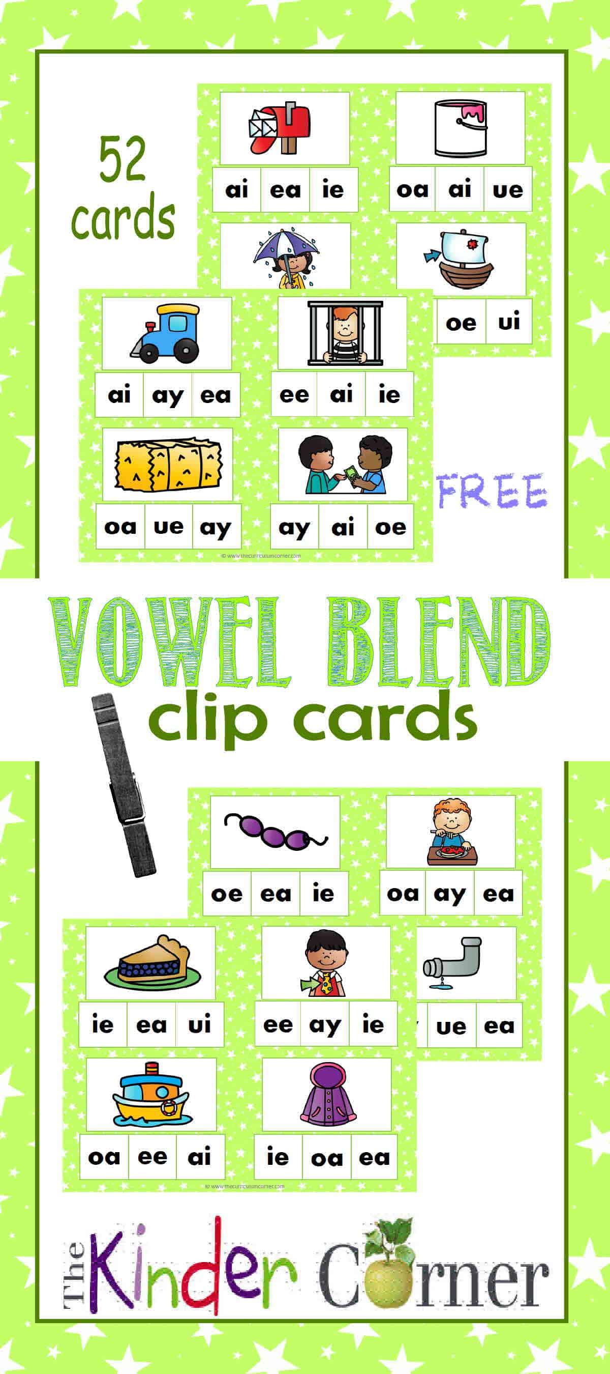 Vowel Blend Clip Cards