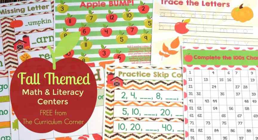 FREEBIE Fall Math & Literacy Centers for Kindergarten & First Grade from The Curriculum Corner | Fry Words, Bump, 100s Chart, Letter Matching & more!