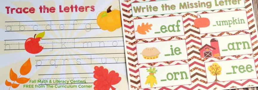 FREE Fall Math & Literacy Centers for Kindergarten & First Grade from The Curriculum Corner | Missing Letters, Bump, Fry WOrds & More!