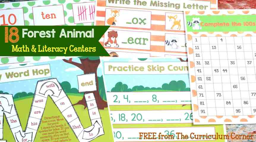 18 Forest Animal Math & kindergarten Literacy Centers for kindergarten & first grades - FREE from The Curriculum Corner