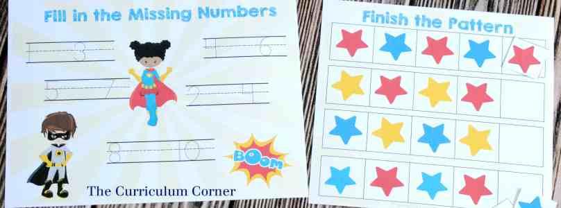 FREEBIE! 14 FREE Superhero Math & Literacy Centers from The Curriculum Corner | for kindergarten & 1st grade